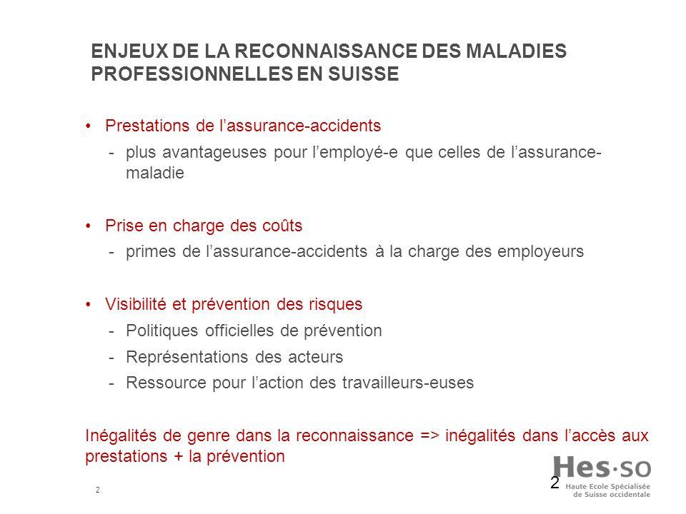 2 ENJEUX DE LA RECONNAISSANCE DES MALADIES PROFESSIONNELLES EN SUISSE Prestations de lassurance-accidents -plus avantageuses pour lemployé-e que celle