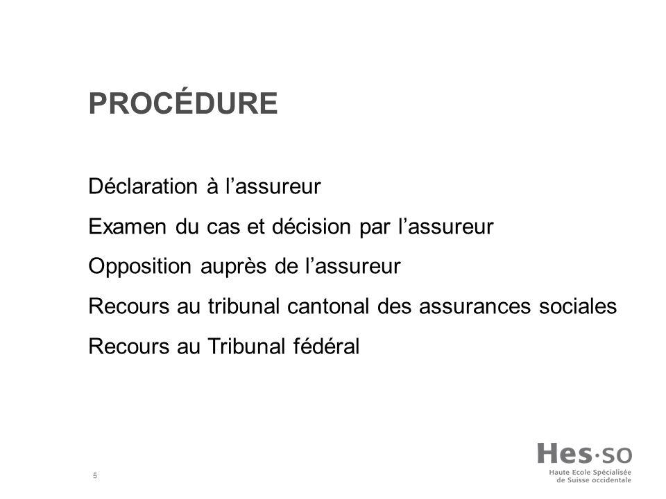 5 PROCÉDURE Déclaration à lassureur Examen du cas et décision par lassureur Opposition auprès de lassureur Recours au tribunal cantonal des assurances