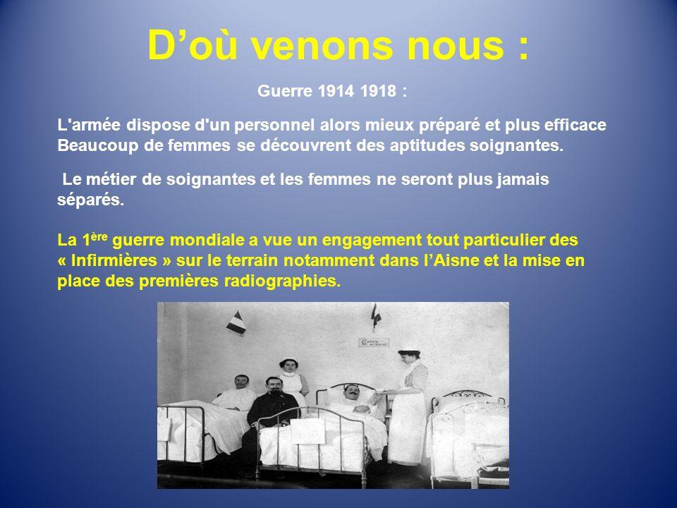 Doù venons nous : Guerre 1914 1918 : L'armée dispose d'un personnel alors mieux préparé et plus efficace Beaucoup de femmes se découvrent des aptitude