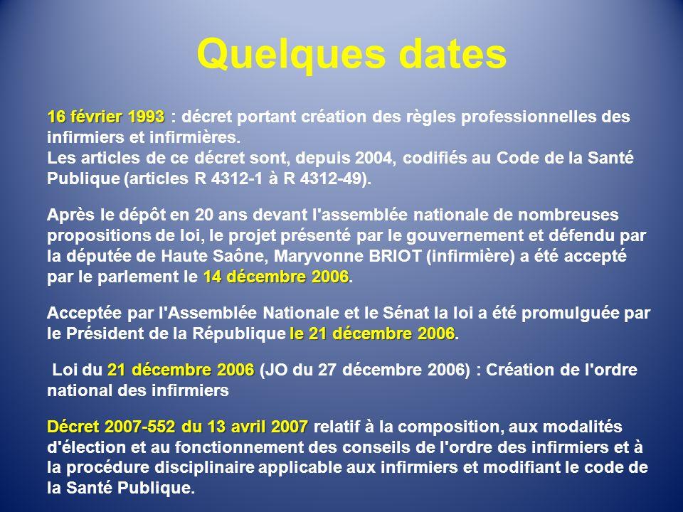 Quelques dates 16 février 1993 16 février 1993 : décret portant création des règles professionnelles des infirmiers et infirmières. Les articles de ce