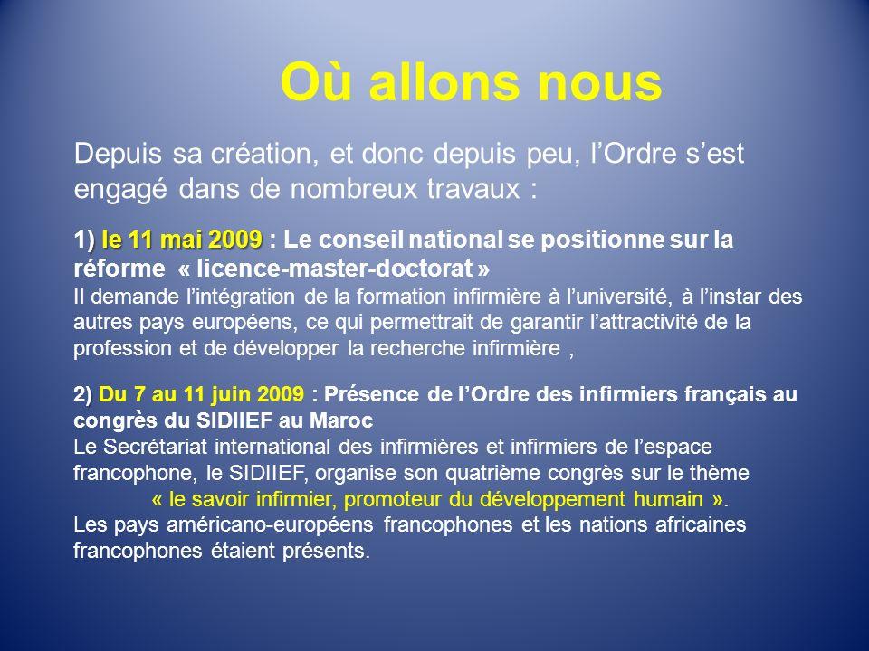 Où allons nous Depuis sa création, et donc depuis peu, lOrdre sest engagé dans de nombreux travaux : ) le 11 mai 2009 1) le 11 mai 2009 : Le conseil n