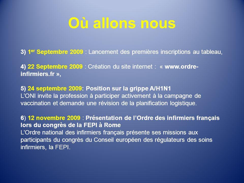 Où allons nous 3) 1 er Septembre 2009 : Lancement des premières inscriptions au tableau, 4) 22 Septembre 2009 : Création du site internet : « www.ordr