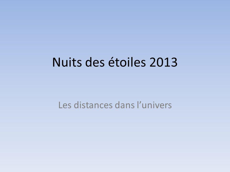 Nuits des étoiles 2013 Les distances dans lunivers