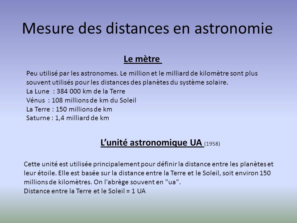 Mesure des distances en astronomie Peu utilisé par les astronomes.