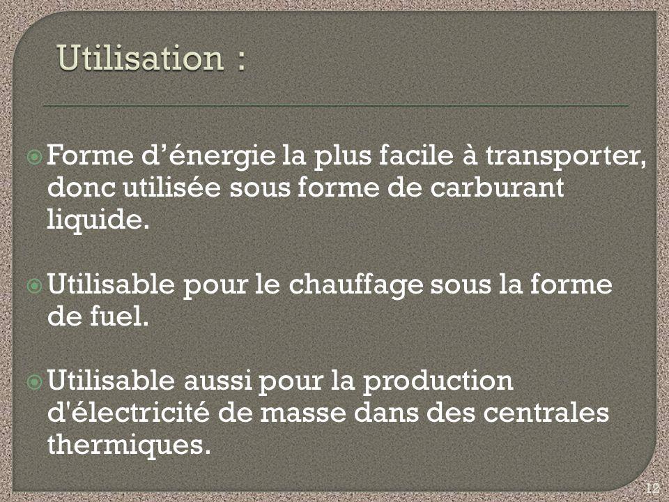 Forme dénergie la plus facile à transporter, donc utilisée sous forme de carburant liquide. Utilisable pour le chauffage sous la forme de fuel. Utilis