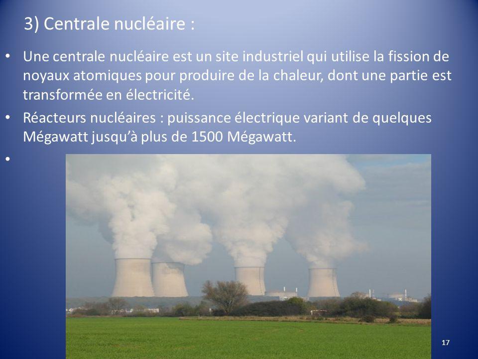 3) Centrale nucléaire : Une centrale nucléaire est un site industriel qui utilise la fission de noyaux atomiques pour produire de la chaleur, dont une