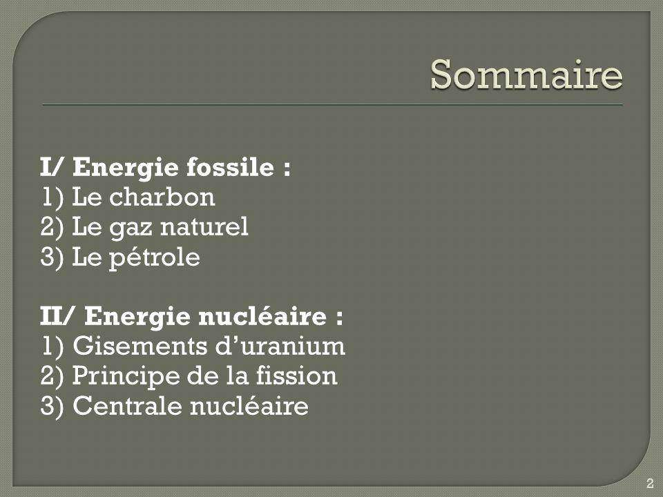 I/ Energie fossile : 1) Le charbon 2) Le gaz naturel 3) Le pétrole II/ Energie nucléaire : 1) Gisements duranium 2) Principe de la fission 3) Centrale