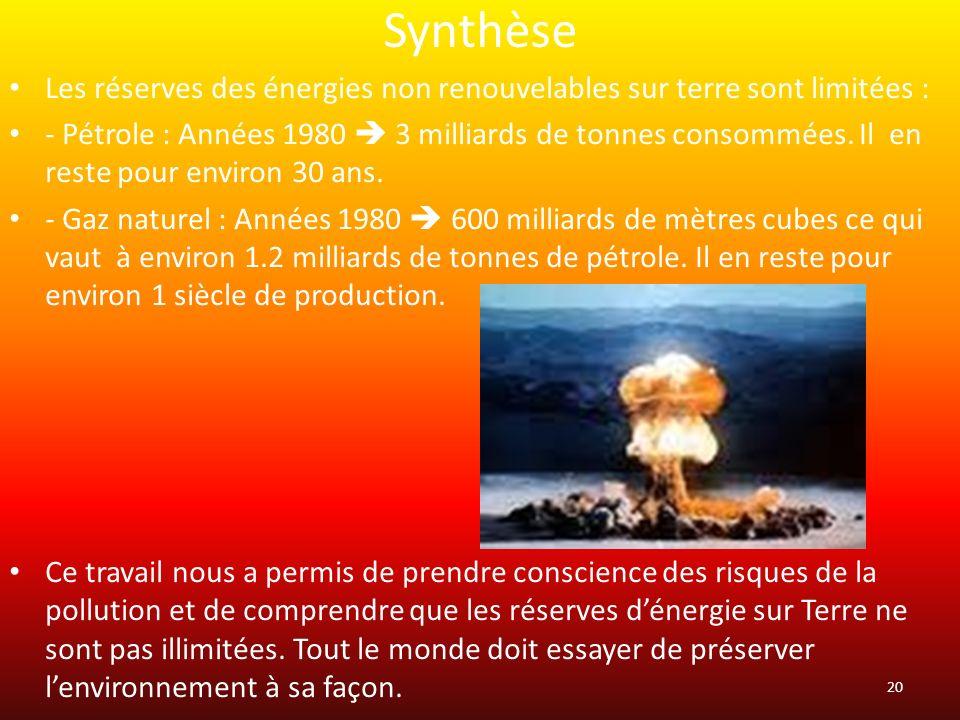 Synthèse Les réserves des énergies non renouvelables sur terre sont limitées : - Pétrole : Années 1980 3 milliards de tonnes consommées. Il en reste p