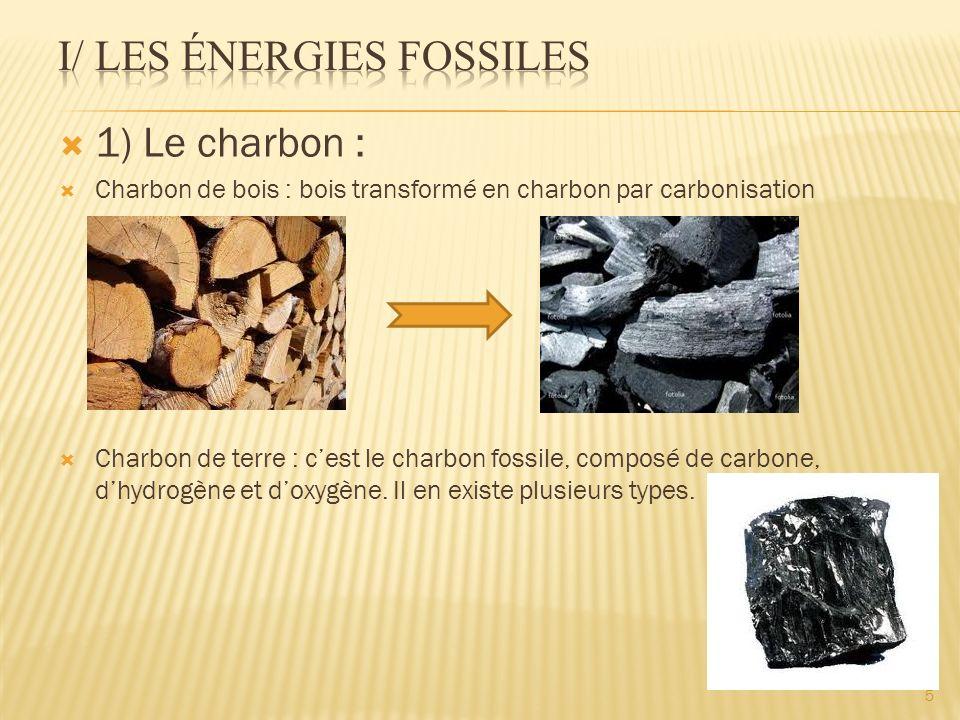 1) Le charbon : Charbon de bois : bois transformé en charbon par carbonisation Charbon de terre : cest le charbon fossile, composé de carbone, dhydrog