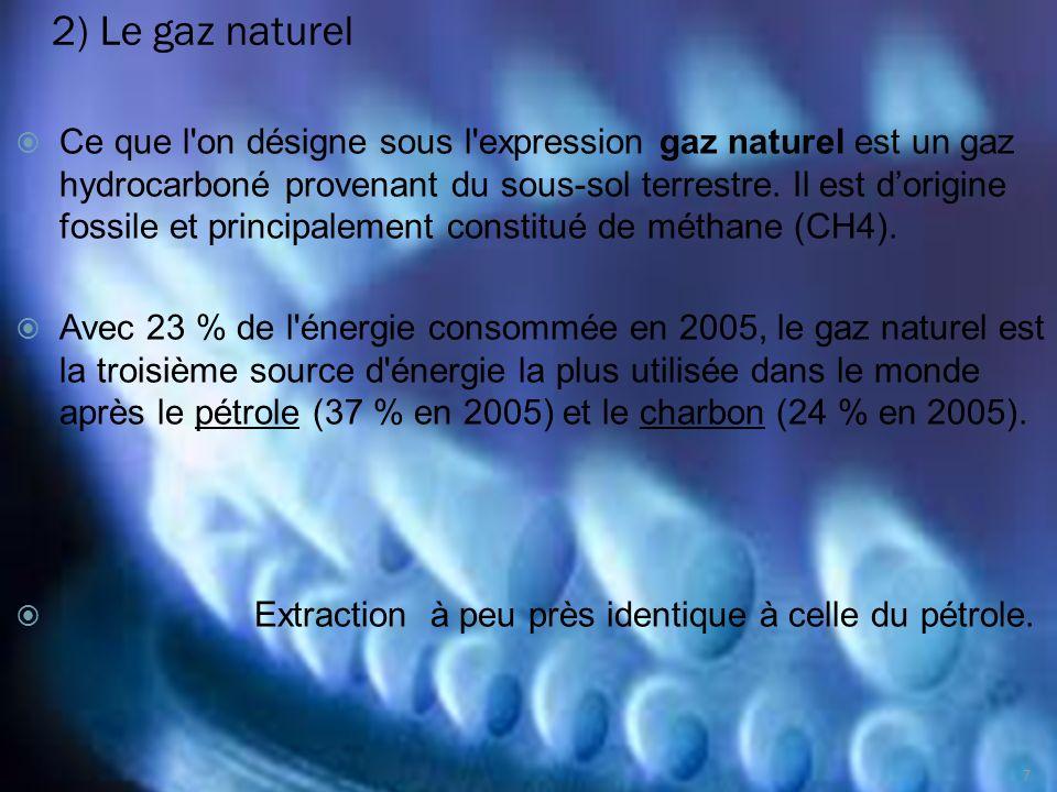 2) Le gaz naturel Ce que l'on désigne sous l'expression gaz naturel est un gaz hydrocarboné provenant du sous-sol terrestre. Il est dorigine fossile e