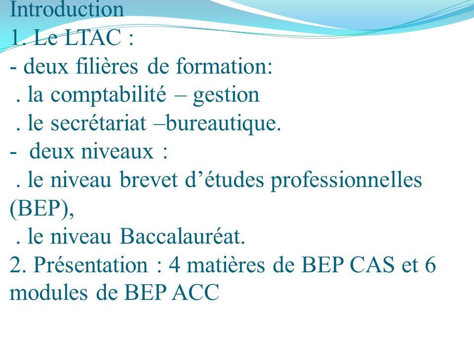 Introduction I. Les matières du BEP CAS I.1. Français I.2. Anglais I.3. Histoire –Géographie et Instruction civique I.4 EPS II. Les modules du BEP ACC
