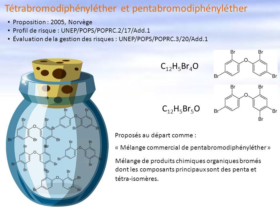 Proposés au départ comme : « Mélange commercial de pentabromodiphényléther » Mélange de produits chimiques organiques bromés dont les composants princ