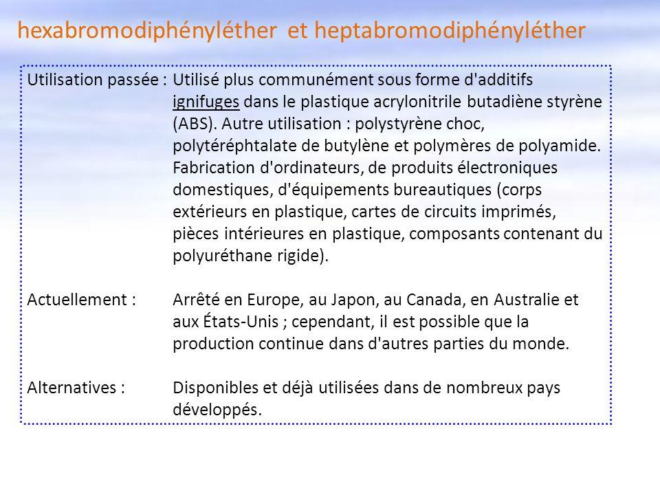 Utilisation passée :Utilisé plus communément sous forme d'additifs ignifuges dans le plastique acrylonitrile butadiène styrène (ABS). Autre utilisatio