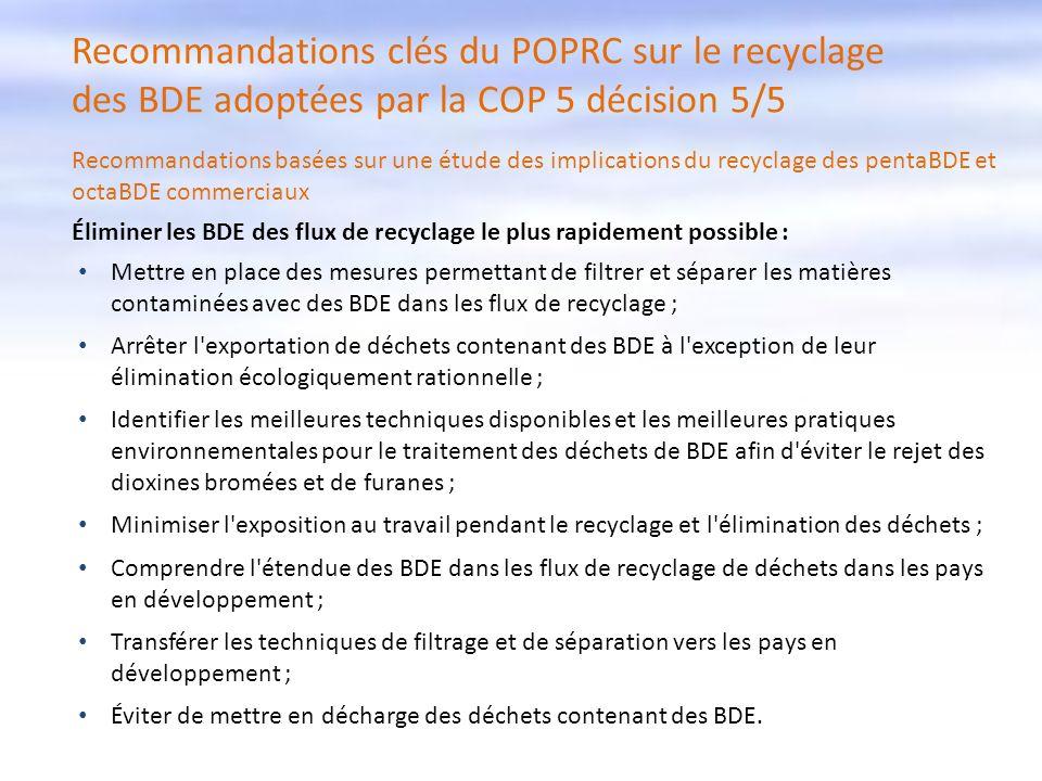 Recommandations clés du POPRC sur le recyclage des BDE adoptées par la COP 5 décision 5/5 Recommandations basées sur une étude des implications du rec