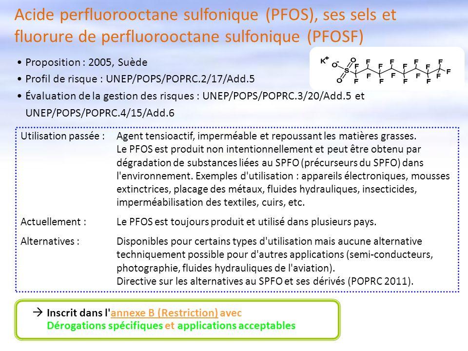 Acide perfluorooctane sulfonique (PFOS), ses sels et fluorure de perfluorooctane sulfonique (PFOSF) Inscrit dans l'annexe B (Restriction) avec Dérogat