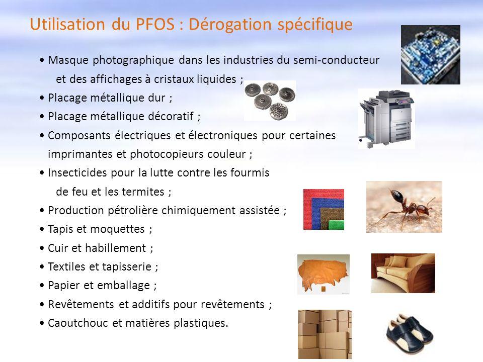 Utilisation du PFOS : Dérogation spécifique Masque photographique dans les industries du semi-conducteur et des affichages à cristaux liquides ; Placa