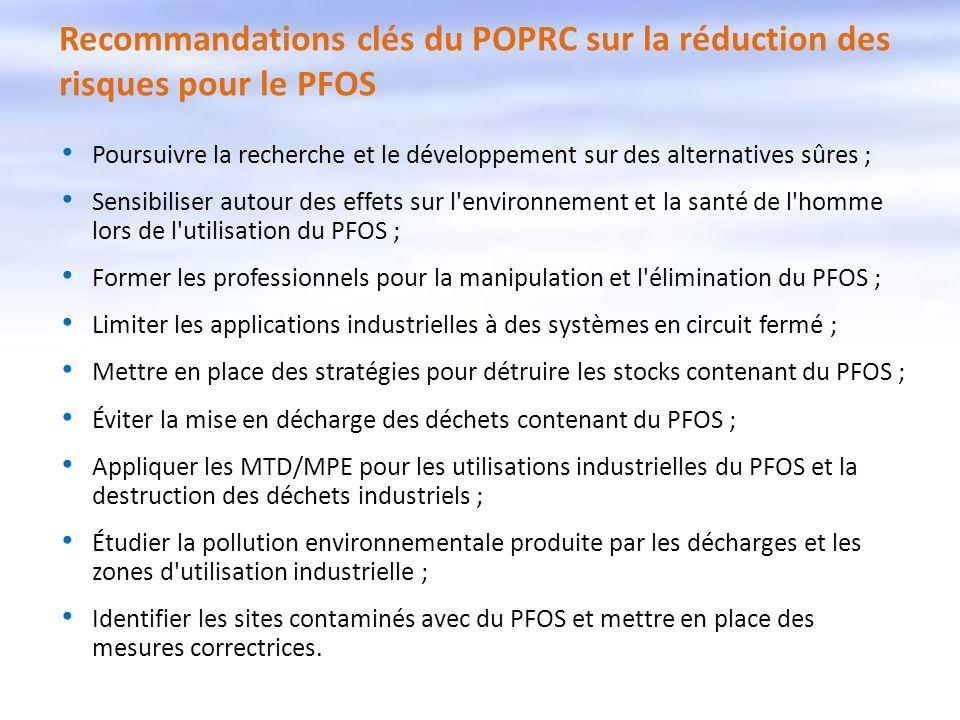 Recommandations clés du POPRC sur la réduction des risques pour le PFOS Poursuivre la recherche et le développement sur des alternatives sûres ; Sensi