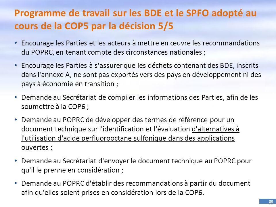 30 Programme de travail sur les BDE et le SPFO adopté au cours de la COP5 par la décision 5/5 Encourage les Parties et les acteurs à mettre en œuvre l