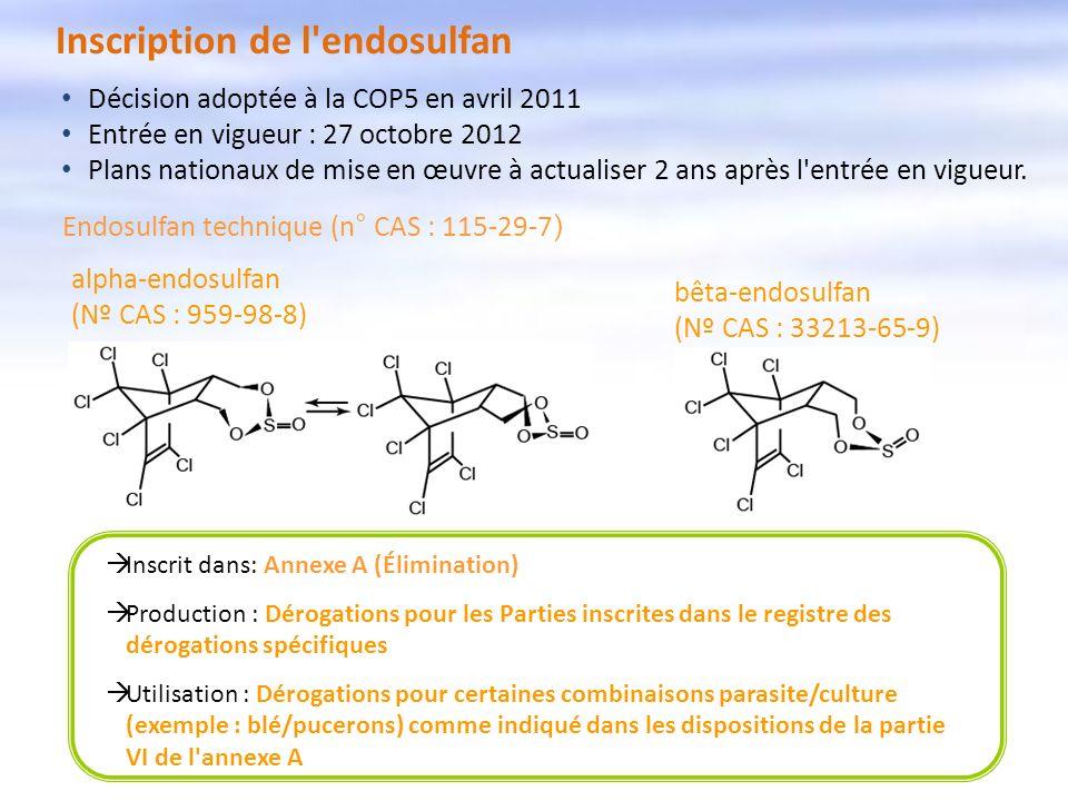 Inscription de l'endosulfan Inscrit dans: Annexe A (Élimination) Production : Dérogations pour les Parties inscrites dans le registre des dérogations
