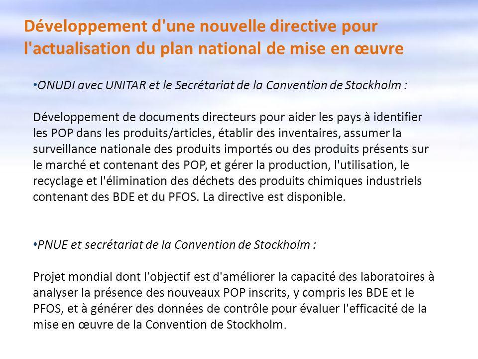 Développement d'une nouvelle directive pour l'actualisation du plan national de mise en œuvre ONUDI avec UNITAR et le Secrétariat de la Convention de