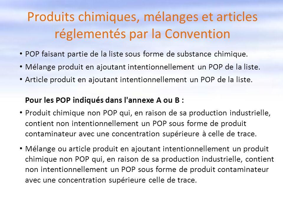 Produits chimiques, mélanges et articles réglementés par la Convention POP faisant partie de la liste sous forme de substance chimique. Mélange produi