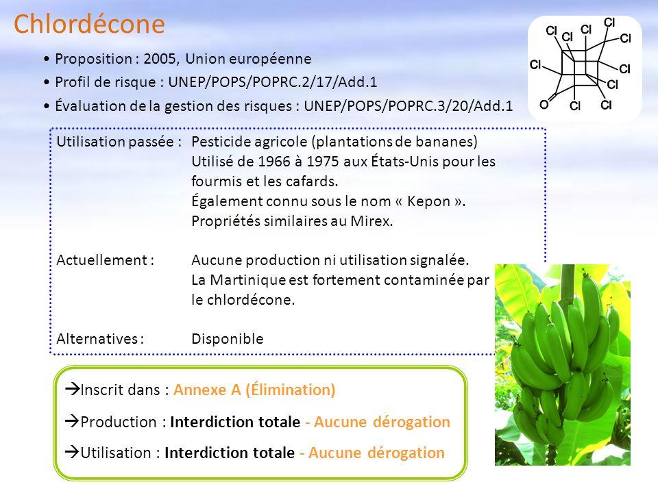 Chlordécone Inscrit dans : Annexe A (Élimination) Production : Interdiction totale - Aucune dérogation Utilisation : Interdiction totale - Aucune déro