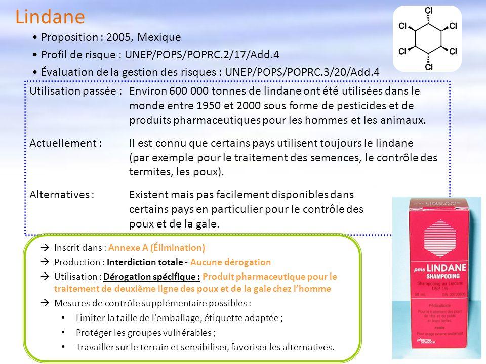 Lindane Inscrit dans : Annexe A (Élimination) Production : Interdiction totale - Aucune dérogation Utilisation : Dérogation spécifique : Produit pharm