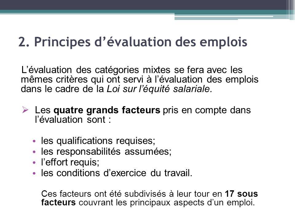 Lévaluation des catégories mixtes se fera avec les mêmes critères qui ont servi à lévaluation des emplois dans le cadre de la Loi sur léquité salariale.