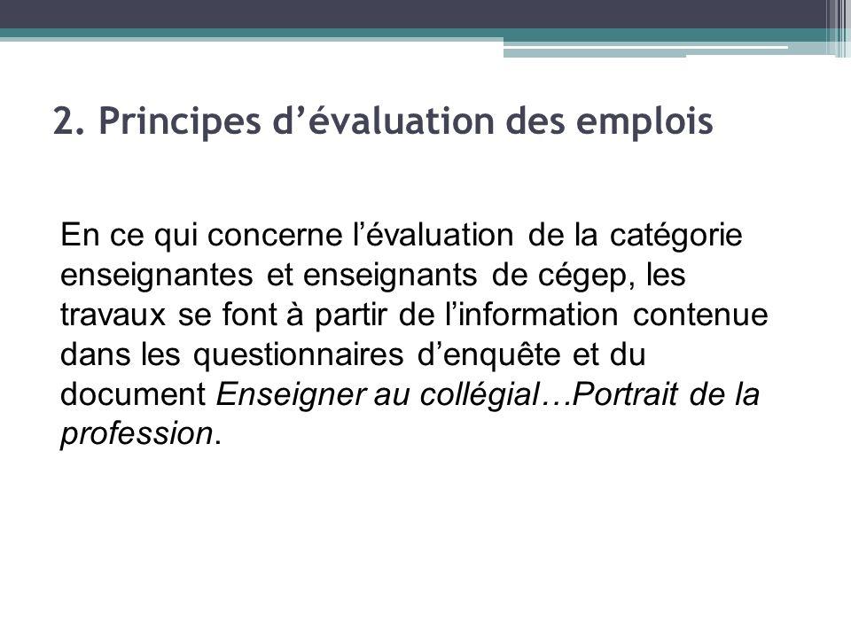 En ce qui concerne lévaluation de la catégorie enseignantes et enseignants de cégep, les travaux se font à partir de linformation contenue dans les questionnaires denquête et du document Enseigner au collégial…Portrait de la profession.
