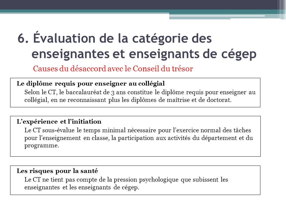 6. Évaluation de la catégorie des enseignantes et enseignants de cégep Lexpérience et linitiation Le CT sous-évalue le temps minimal nécessaire pour l