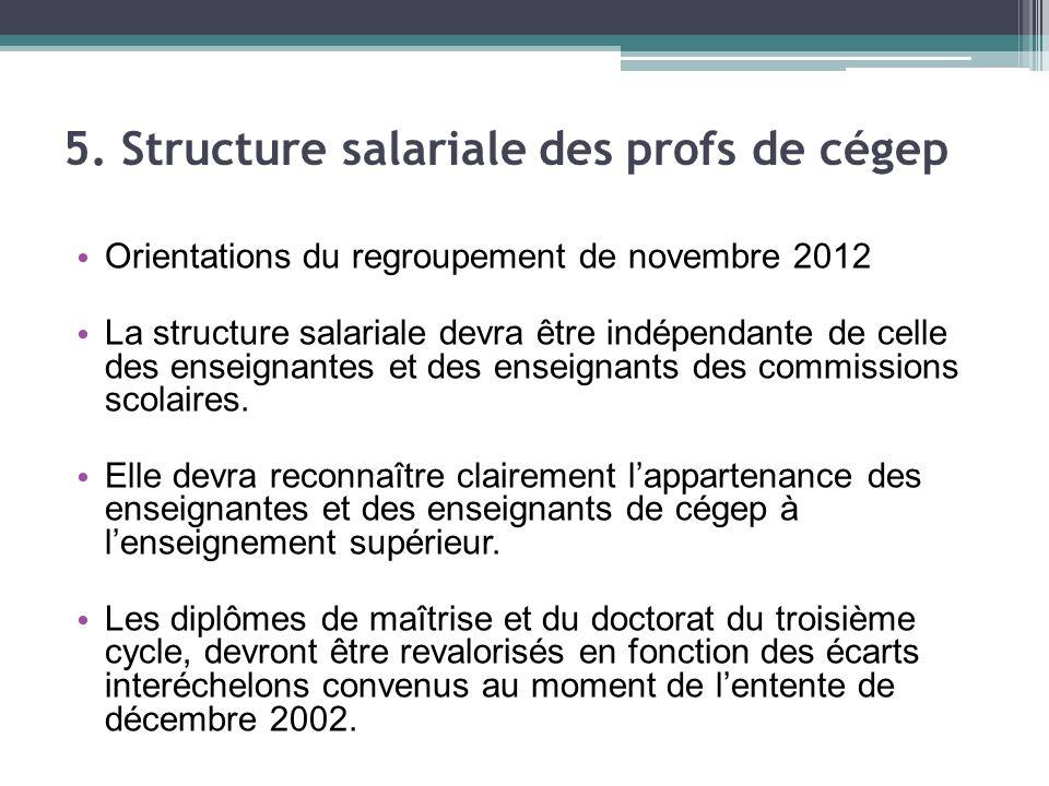 Orientations du regroupement de novembre 2012 La structure salariale devra être indépendante de celle des enseignantes et des enseignants des commissions scolaires.