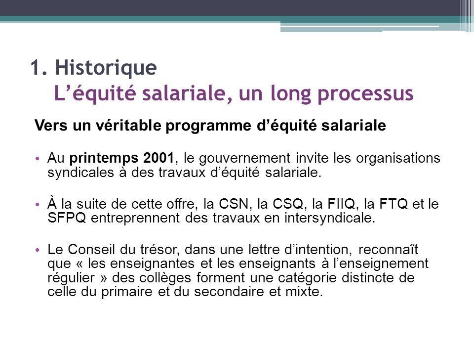 Vers un véritable programme déquité salariale Au printemps 2001, le gouvernement invite les organisations syndicales à des travaux déquité salariale.