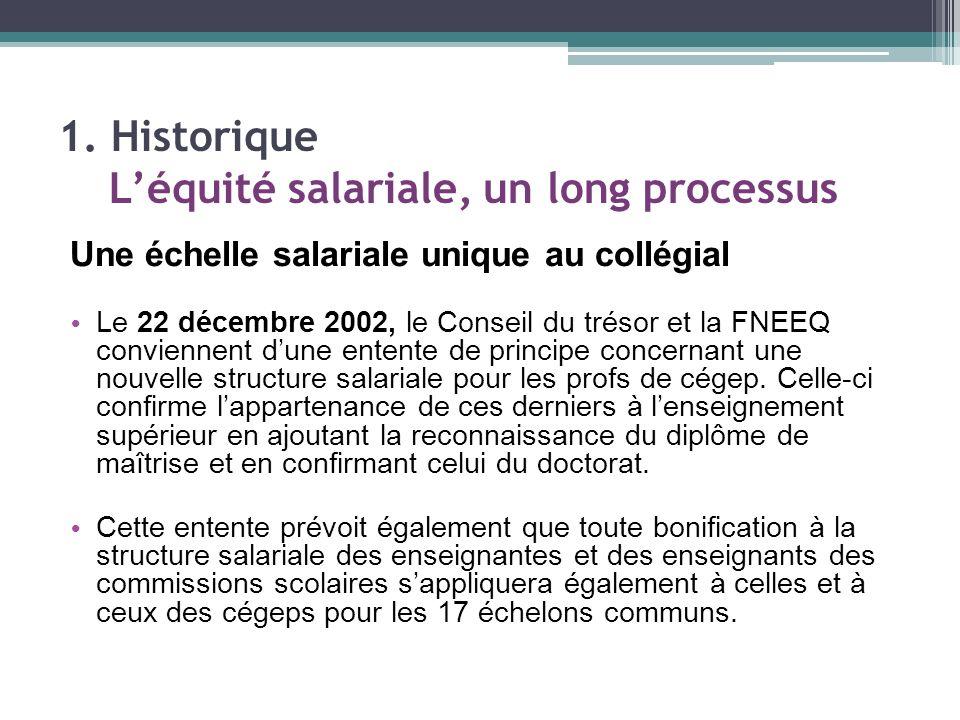 Une échelle salariale unique au collégial Le 22 décembre 2002, le Conseil du trésor et la FNEEQ conviennent dune entente de principe concernant une nouvelle structure salariale pour les profs de cégep.