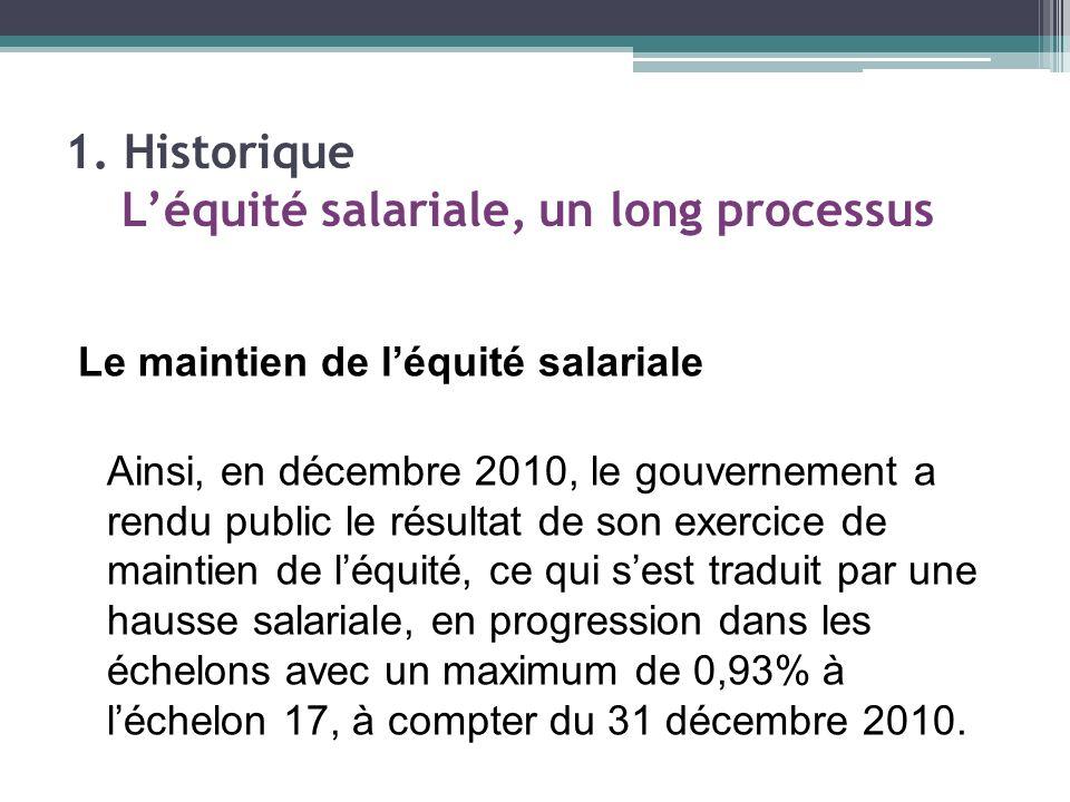 Le maintien de léquité salariale Ainsi, en décembre 2010, le gouvernement a rendu public le résultat de son exercice de maintien de léquité, ce qui sest traduit par une hausse salariale, en progression dans les échelons avec un maximum de 0,93% à léchelon 17, à compter du 31 décembre 2010.