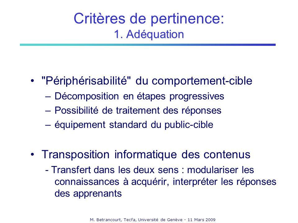 M.Betrancourt, Tecfa, Université de Genève - 11 Mars 2009 1.