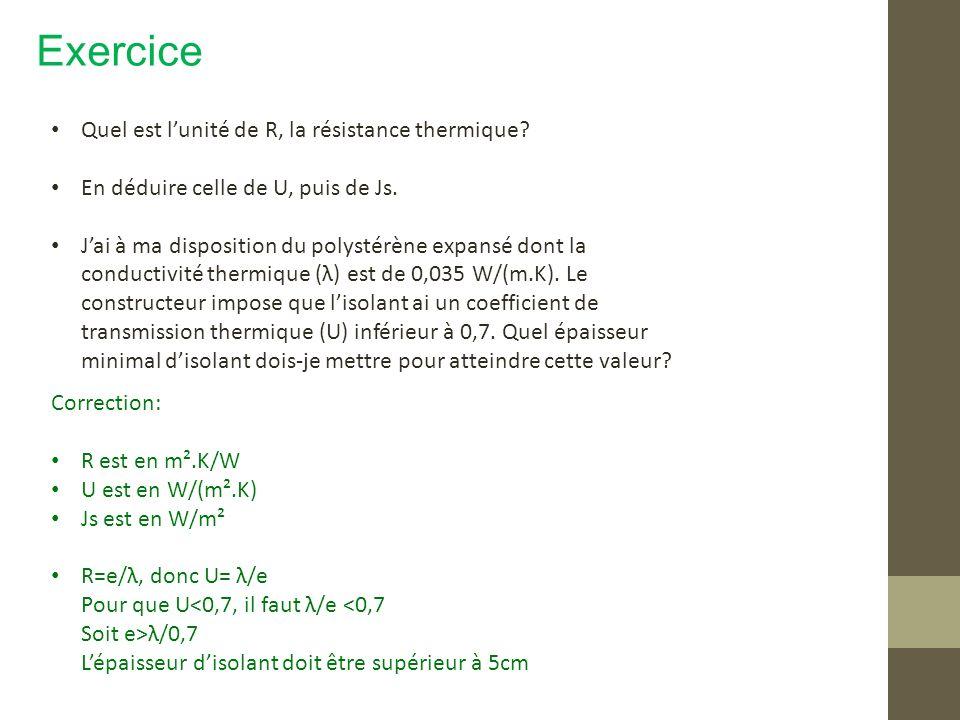 Exercice Quel est lunité de R, la résistance thermique? En déduire celle de U, puis de Js. Jai à ma disposition du polystérène expansé dont la conduct
