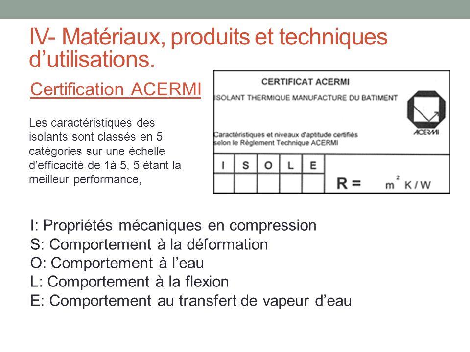 IV- Matériaux, produits et techniques dutilisations. Certification ACERMI Les caractéristiques des isolants sont classés en 5 catégories sur une échel