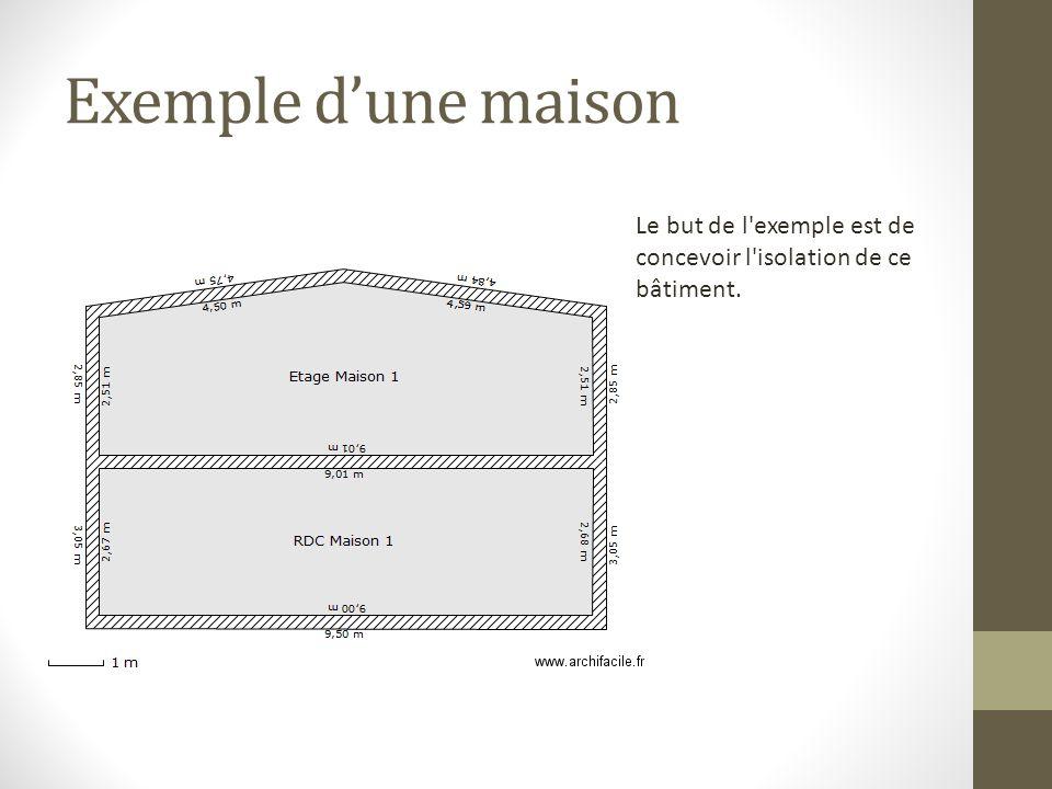Exemple dune maison Le but de l'exemple est de concevoir l'isolation de ce bâtiment.