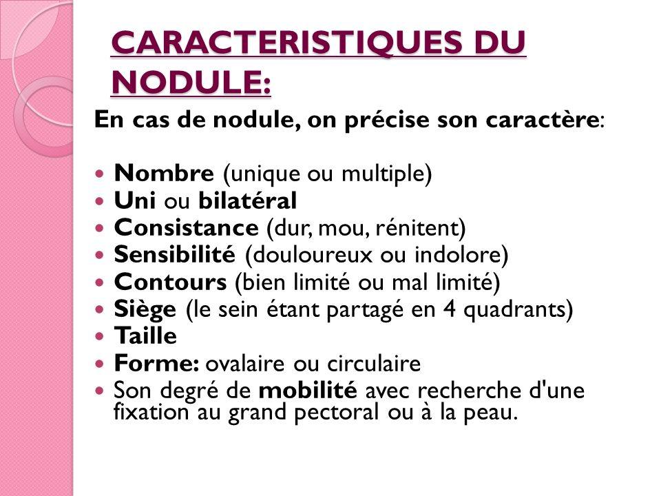 CARACTERISTIQUES DU NODULE: En cas de nodule, on précise son caractère: Nombre (unique ou multiple) Uni ou bilatéral Consistance (dur, mou, rénitent)