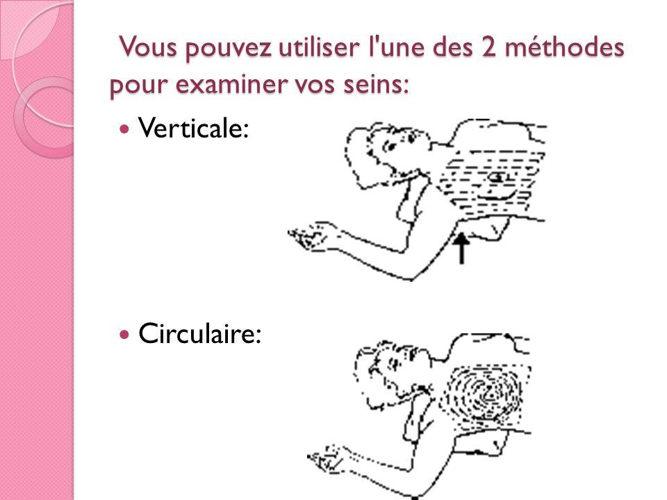Vous pouvez utiliser l'une des 2 méthodes pour examiner vos seins: Vous pouvez utiliser l'une des 2 méthodes pour examiner vos seins: Verticale: Circu