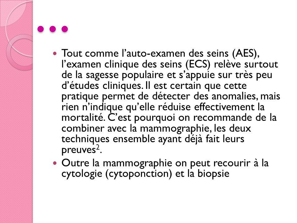 … Tout comme lauto-examen des seins (AES), lexamen clinique des seins (ECS) relève surtout de la sagesse populaire et sappuie sur très peu détudes cli