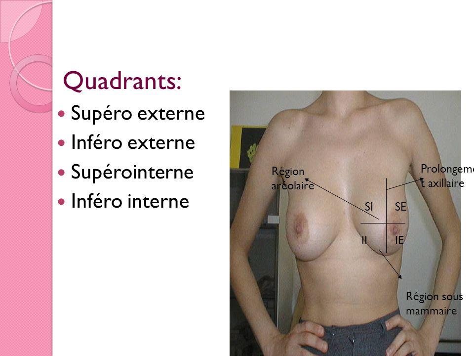 Quadrants: Supéro externe Inféro externe Supérointerne Inféro interne II SISE IE Prolongemen t axillaire Région sous mammaire Région aréolaire