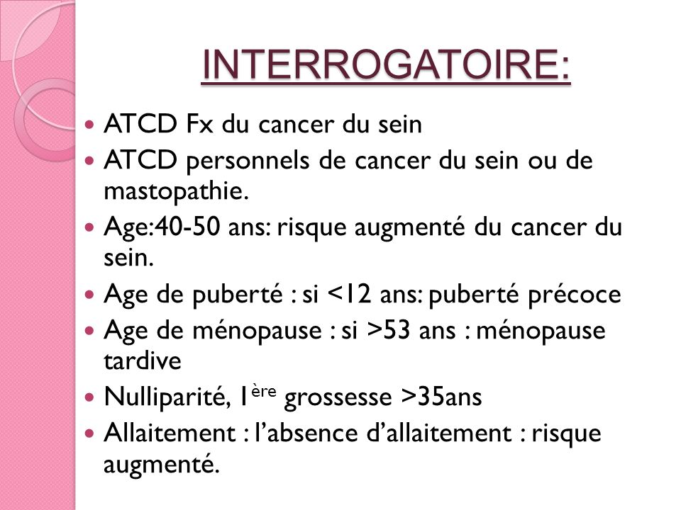 INTERROGATOIRE: ATCD Fx du cancer du sein ATCD personnels de cancer du sein ou de mastopathie. Age:40-50 ans: risque augmenté du cancer du sein. Age d