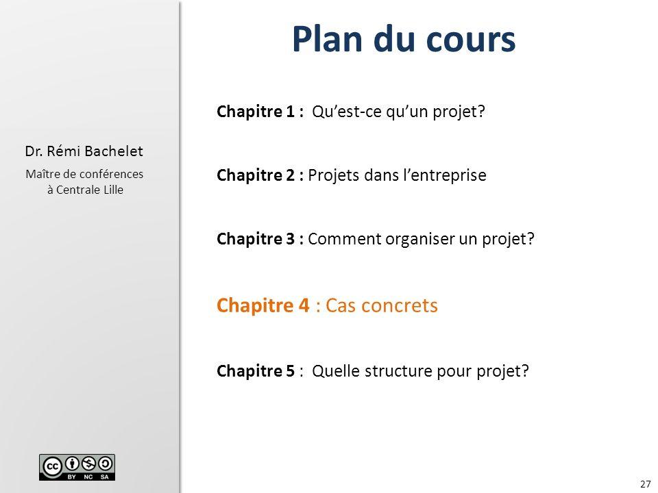 27 Dr.Rémi Bachelet Maître de conférences à Centrale Lille Chapitre 1 : Quest-ce quun projet.
