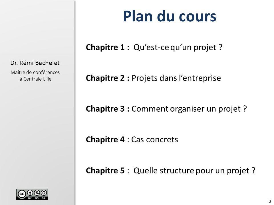 3 Dr.Rémi Bachelet Maître de conférences à Centrale Lille Chapitre 1 : Quest-ce quun projet .
