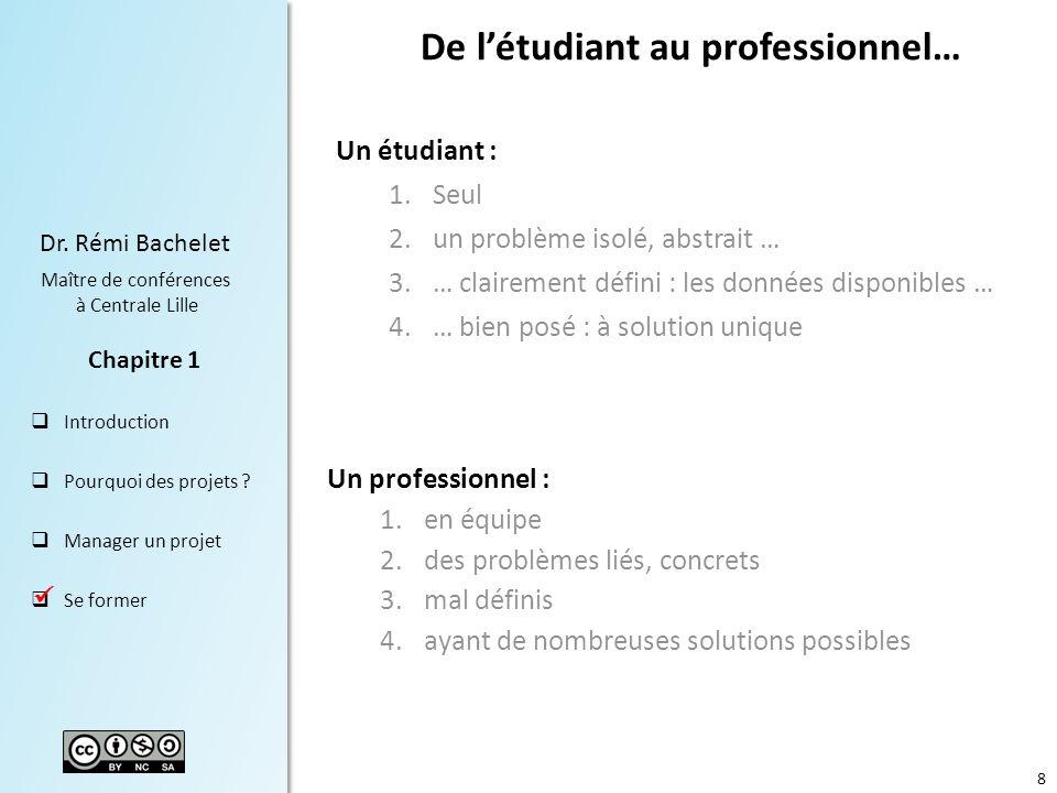 8 Dr.Rémi Bachelet Maître de conférences à Centrale Lille Introduction Pourquoi des projets .