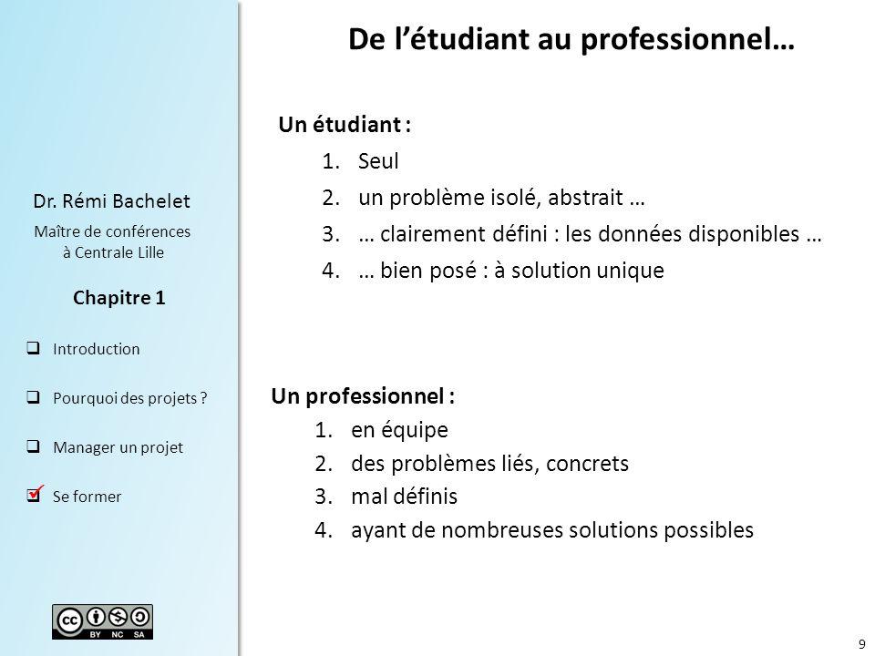 9 Dr.Rémi Bachelet Maître de conférences à Centrale Lille Introduction Pourquoi des projets .