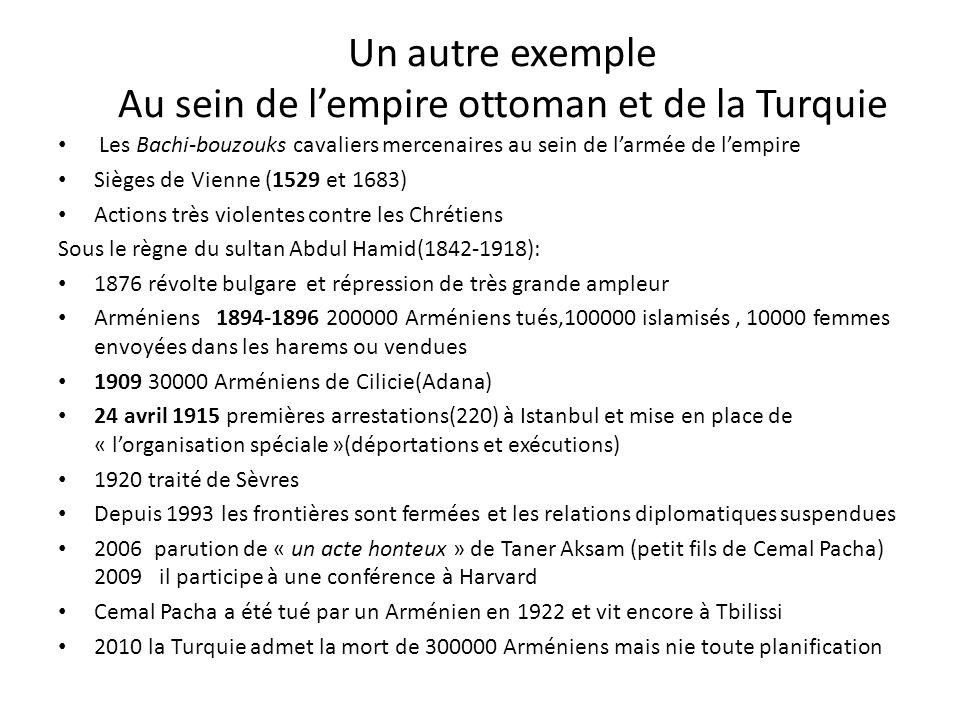 Un autre exemple Au sein de lempire ottoman et de la Turquie Les Bachi-bouzouks cavaliers mercenaires au sein de larmée de lempire Sièges de Vienne (1