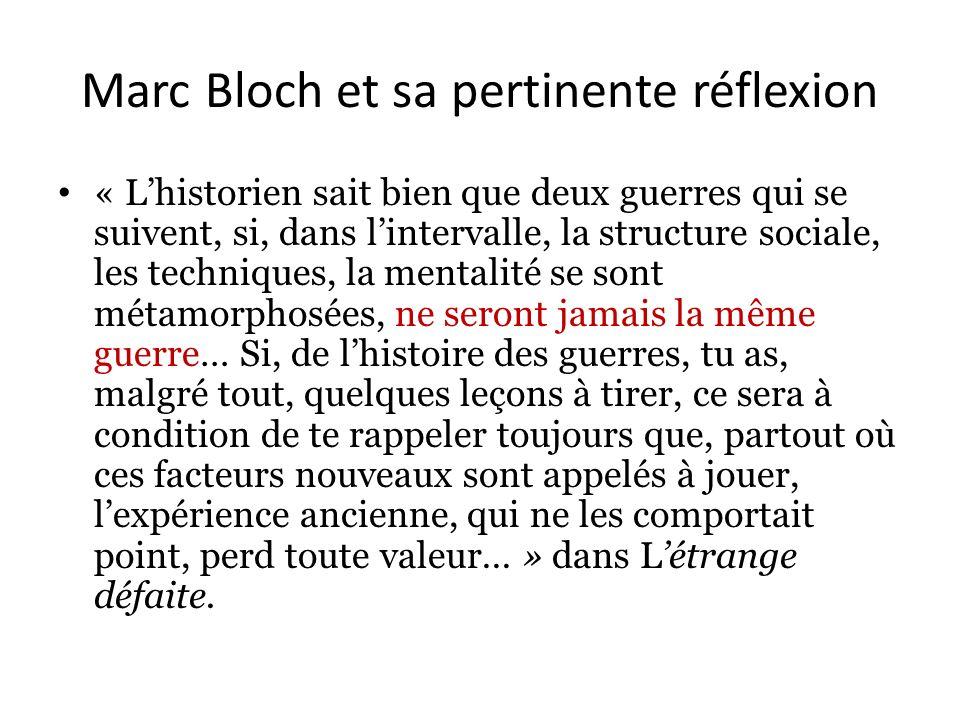 Marc Bloch et sa pertinente réflexion « Lhistorien sait bien que deux guerres qui se suivent, si, dans lintervalle, la structure sociale, les techniques, la mentalité se sont métamorphosées, ne seront jamais la même guerre… Si, de lhistoire des guerres, tu as, malgré tout, quelques leçons à tirer, ce sera à condition de te rappeler toujours que, partout où ces facteurs nouveaux sont appelés à jouer, lexpérience ancienne, qui ne les comportait point, perd toute valeur… » dans Létrange défaite.