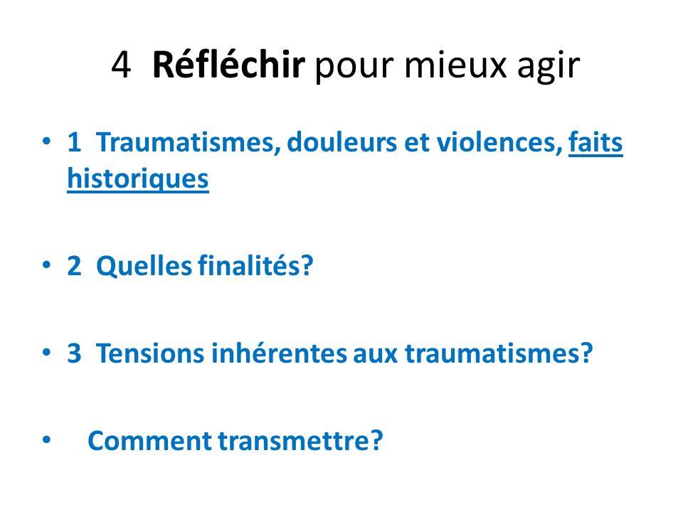 4 Réfléchir pour mieux agir 1 Traumatismes, douleurs et violences, faits historiques 2 Quelles finalités? 3 Tensions inhérentes aux traumatismes? Comm